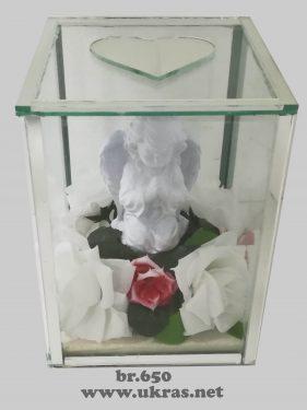 ukrasi za groblje – staklena kutija sa andjelom mala- 1000 din