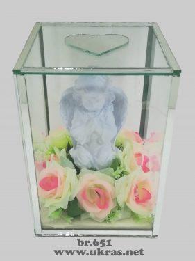 Ukrasi za groblje – staklena kutija sa andjelom velika-1400 din
